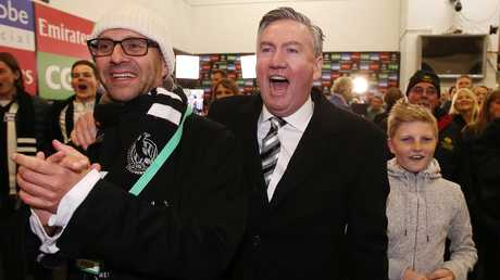 Collingwood president Eddie McGuire celebrating a win this year. Picture: Michael Klein
