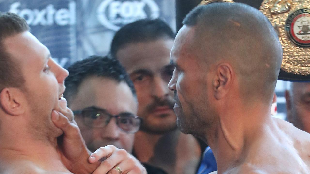 Mundine and Horn clash during the weigh in. The weigh in for Jeff Horn and Anthony Mundine. Pic Peter Wallis