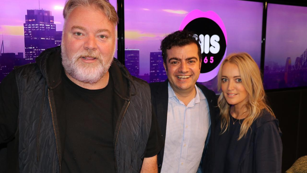 Former Australian Sam Dastyari with Kyle Sandilands and Jackie O in the KIIS FM studio.