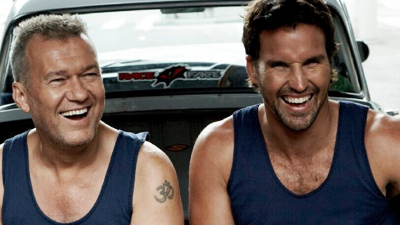 Sun's out, guns out … Pat Rafter and Jimmy Barnes (left) in a file picture from Bonds' 100th anniversary campaign.