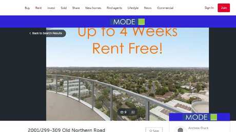 A rental listing on realestate.com.au earlier this week showed an offer of up to four weeks rent free.
