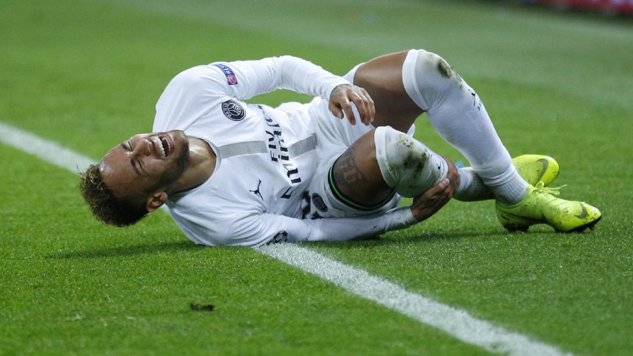 PSG forward Neymar screams after a tackle