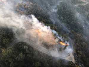 Rescue chopper captures bird's eye view of Eungella fires