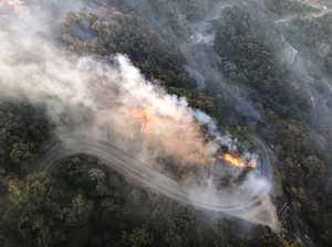 Rescue chopper captures bird's eye view of Eungella fires