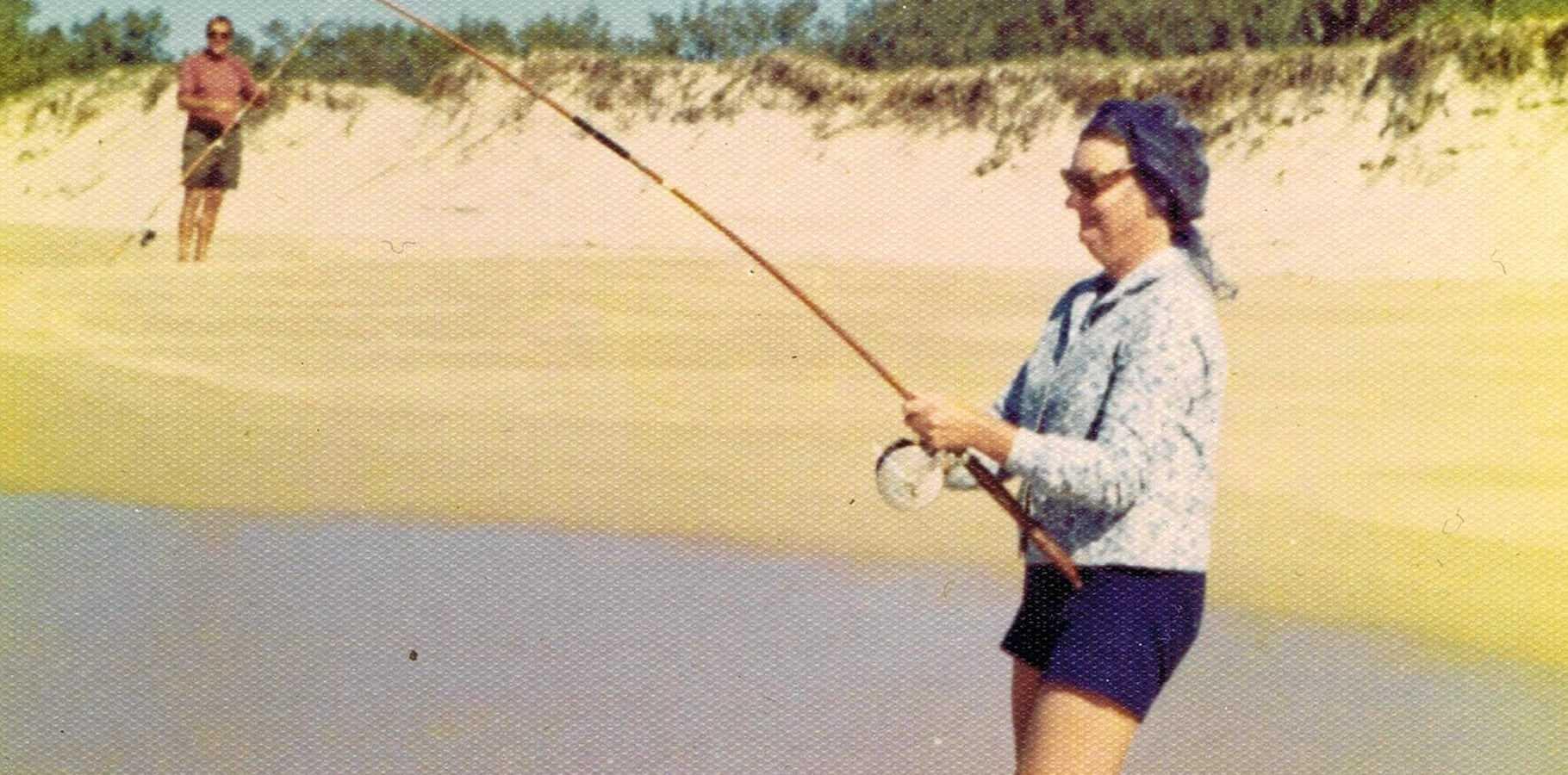 Nancy Mourik fishing on north Peregian Beach in 1977.