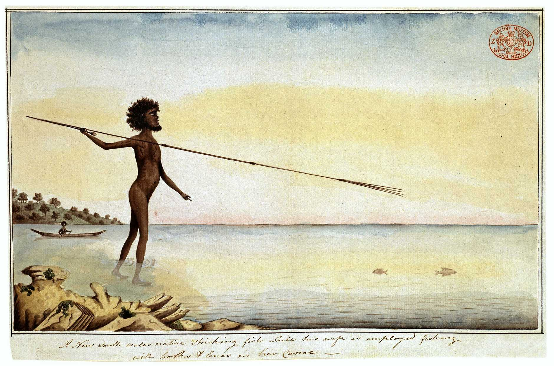 Drawing 29 from the Watling Collection titled 'A New South Wales native sticking fish while his wife is employed fishing with hooks and lines in her canoe' by Port Jackson Painter, 1788-1797.