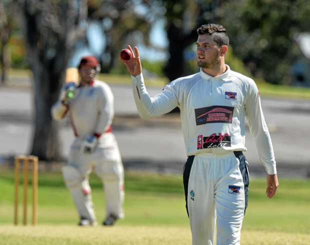 Laidley bowler Damien Brandley ponders his next delivery during last Saturday's first division one-day match against Centrals.