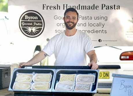 Liam Ahern at the Byron Gourmet Pasta stall at Mullumbimby Farmers Market.
