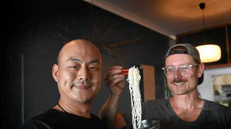 Mr Gao's Love Shack owners Sam Willis and Gai Fei happy to open their new establishment in Ballina on Cherry Street.