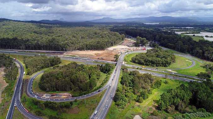 Drone aerial photo of Bruce Highway upgrade at Caloundra Road onramp, Sunshine Coast.