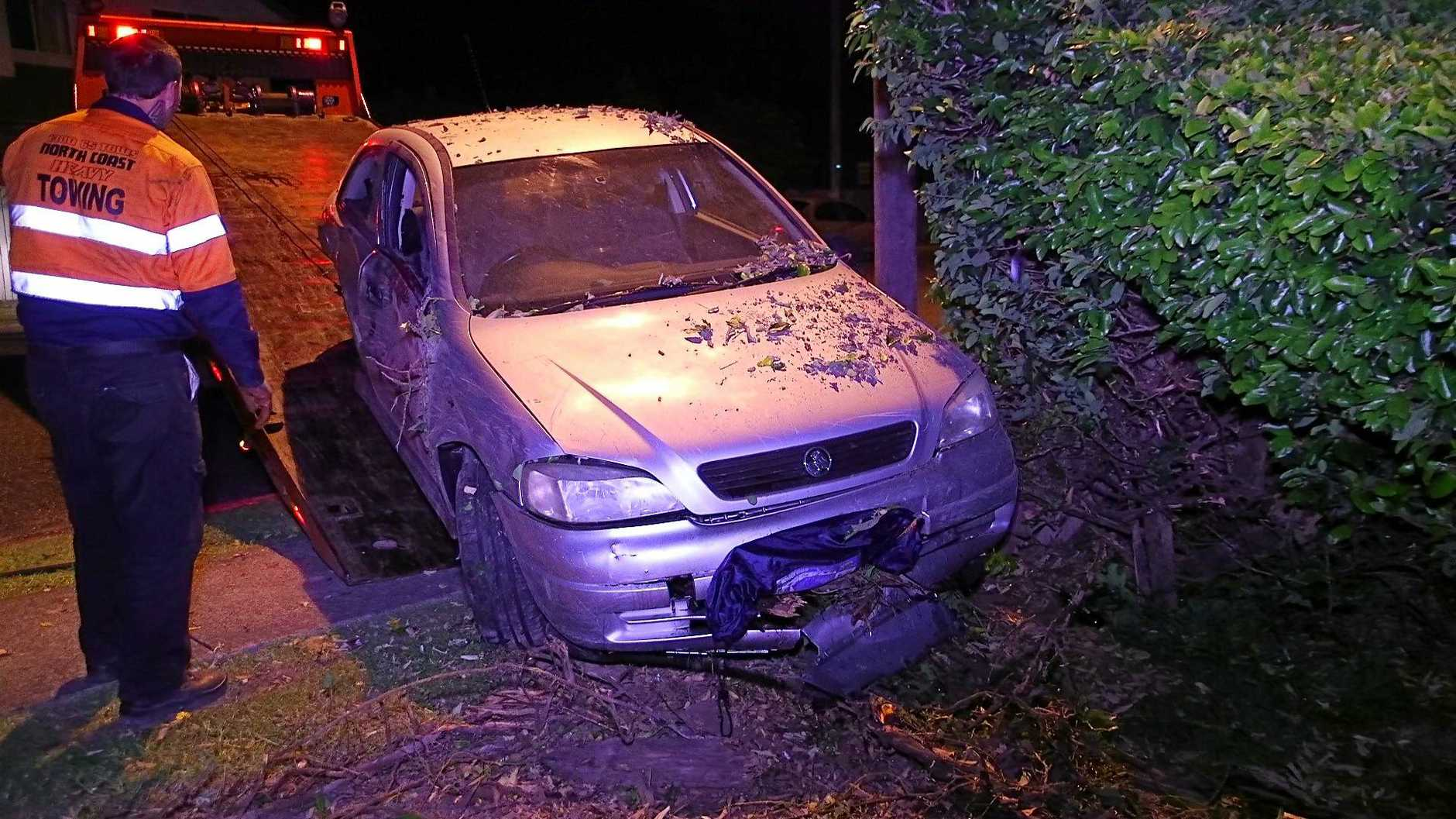 The teenager was rushed to hospital after her car crashed just after midnight.