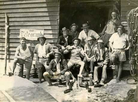 HANGOUT: The Boyd brothers and friends at Boyds' Shed, in the 1940s.