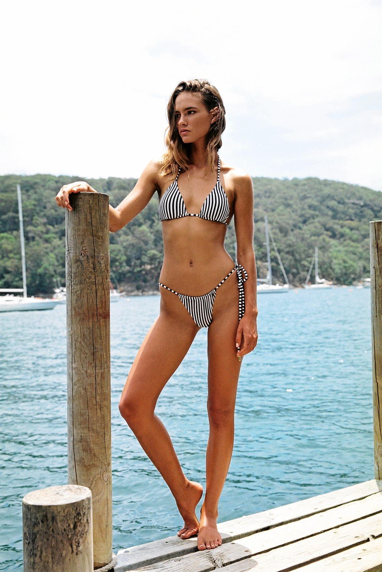 Peony Hayman string tri, $69, and Hayman Sun bottoms, $69, peonyswimwear.com