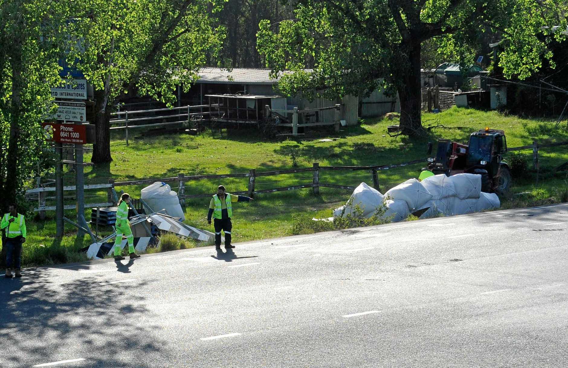 The debris leftover following Friday morning's crash.