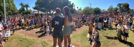CLIMATE STRIKE: More than 300 local high school students and supporters took to the streets on Friday in Byron Bay as part of the School Strike for Climate Action.