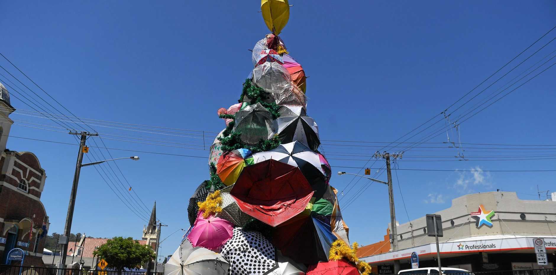 LOVE IT OR HATE IT: The quirky Christmas tree in Lismore's CBD which this year is made of recycled umbrellas.