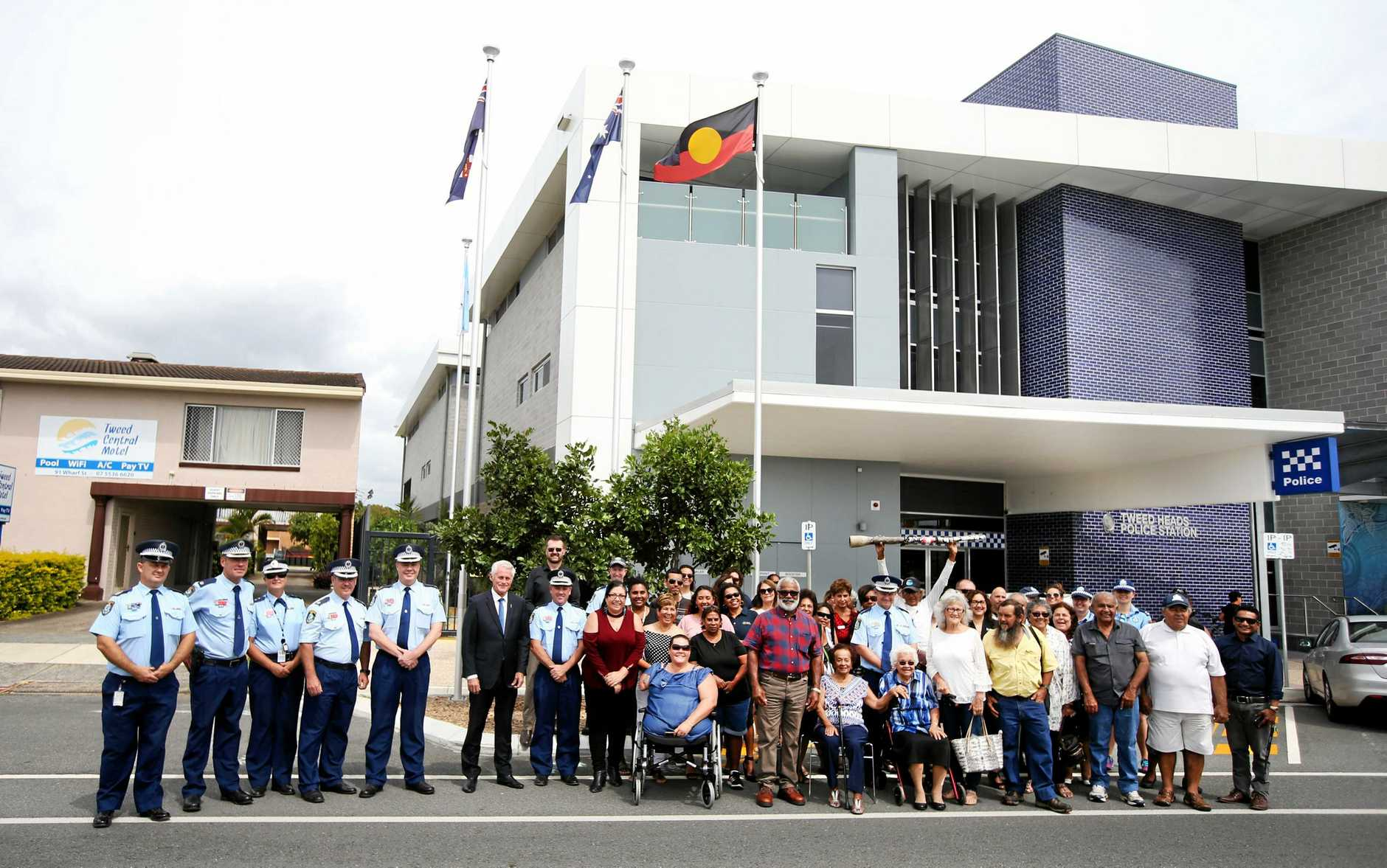 EMBRACING COMMUNITY: The Aboriginal flag was officially raised at the Tweed Heads Police Station on Tuesday.