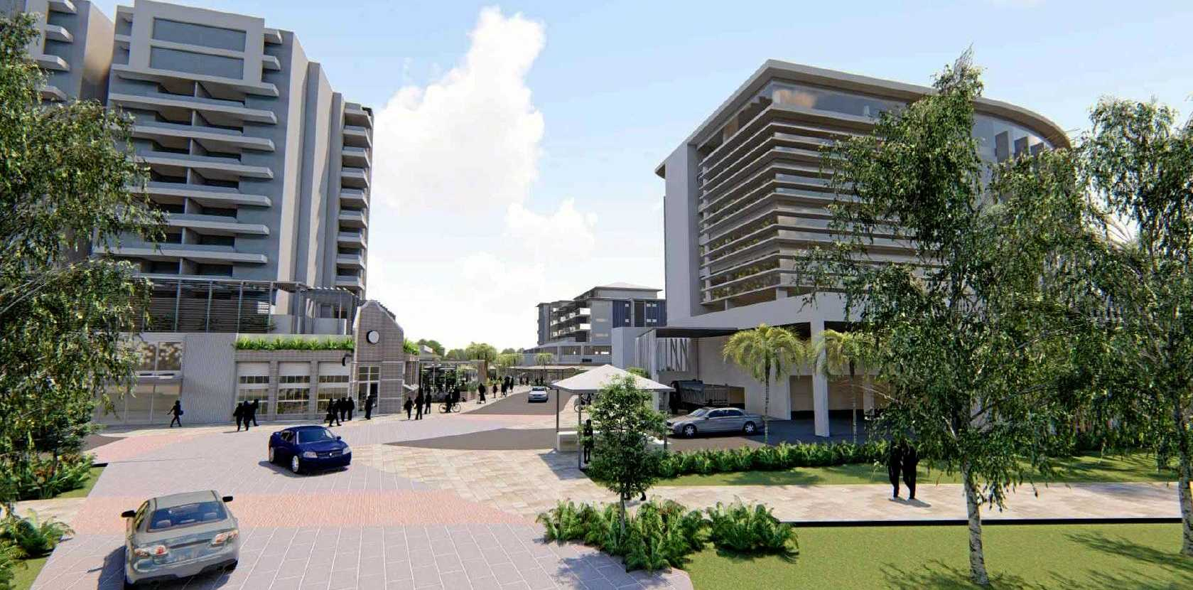 BUILDING BOOST: Concept designs of an eight-storey building proposed for Pialba. Business owners welcome the development.