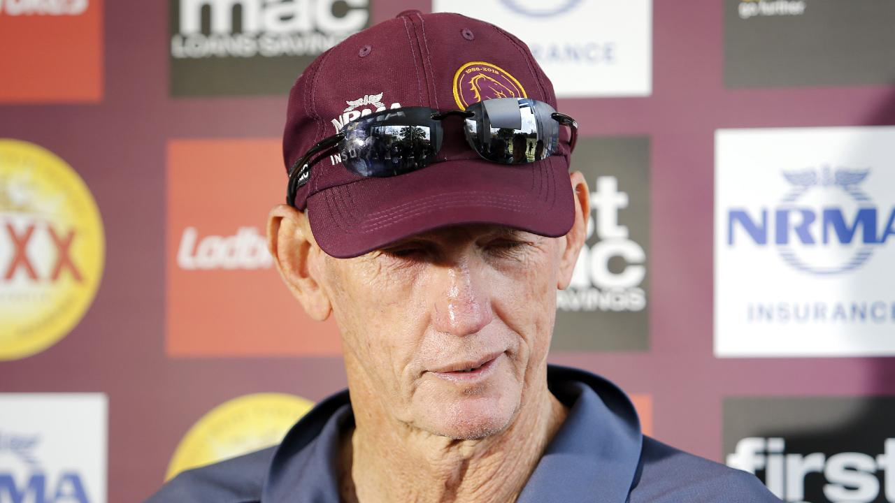 Coach Wayne Bennett from the Broncos pictured addressing the media during training at the Clive Berghofer Centre, Red Hill, Brisbane 24th of August 2018. (AAP Image/Josh Woning)