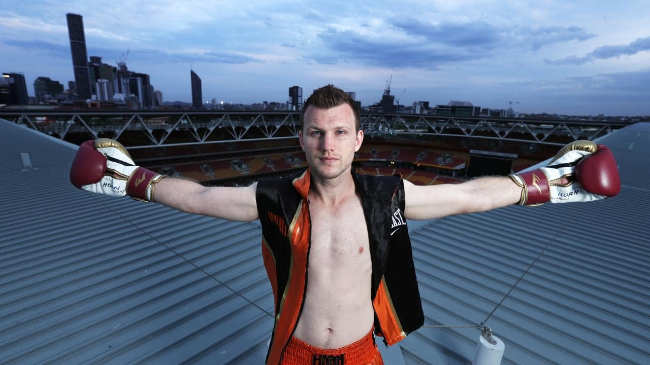 Jeff Horn on the roof of Suncorp Stadium. Picture: Annette Dew
