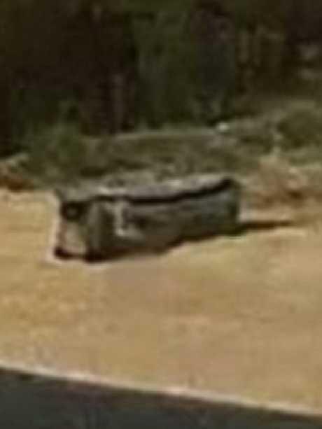 The suitcase in situ on the Karoonda highway.