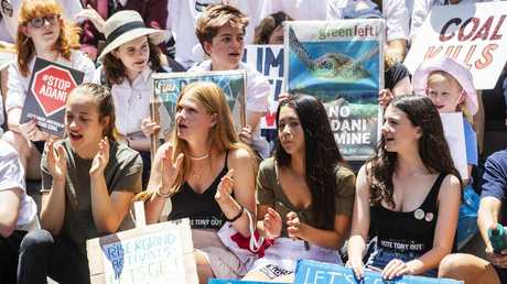 Sudents take to Martin Place and join protest. Picture: Jenny Evans