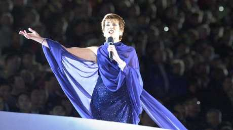 Julie Anthony sings Advance Australia Fair during the opening ceremony of the Sydney Olympics.