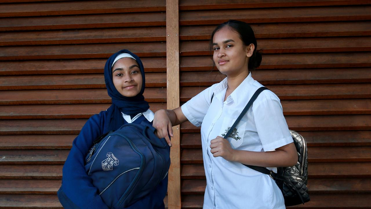 Aisheeya Huq 16 (R) and Rifah Ahmed 16 will both be attending the climate change protest. Picture: Toby Zerna