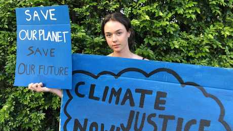 Northern Beaches Secondary College (NBSC) Manly Selective Campus Year 9 student Vivienne Paduch is protesting alongside others involved with the school Strike 4 Climate Action group, outside of Parliament House on Friday. Picture: Supplied