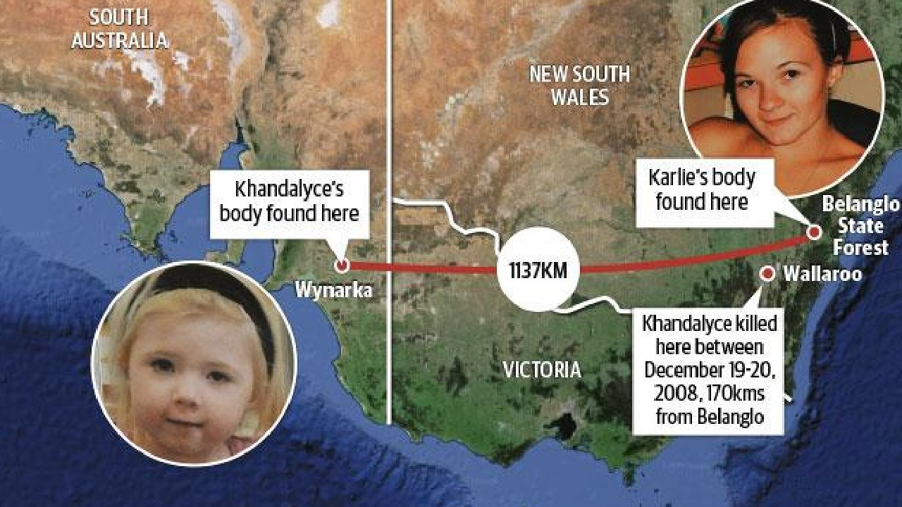 The bodies of Karlie Jade Pearce-Stevenson and daughter Khandalyce Kiara Pearce were found 1137km apart.