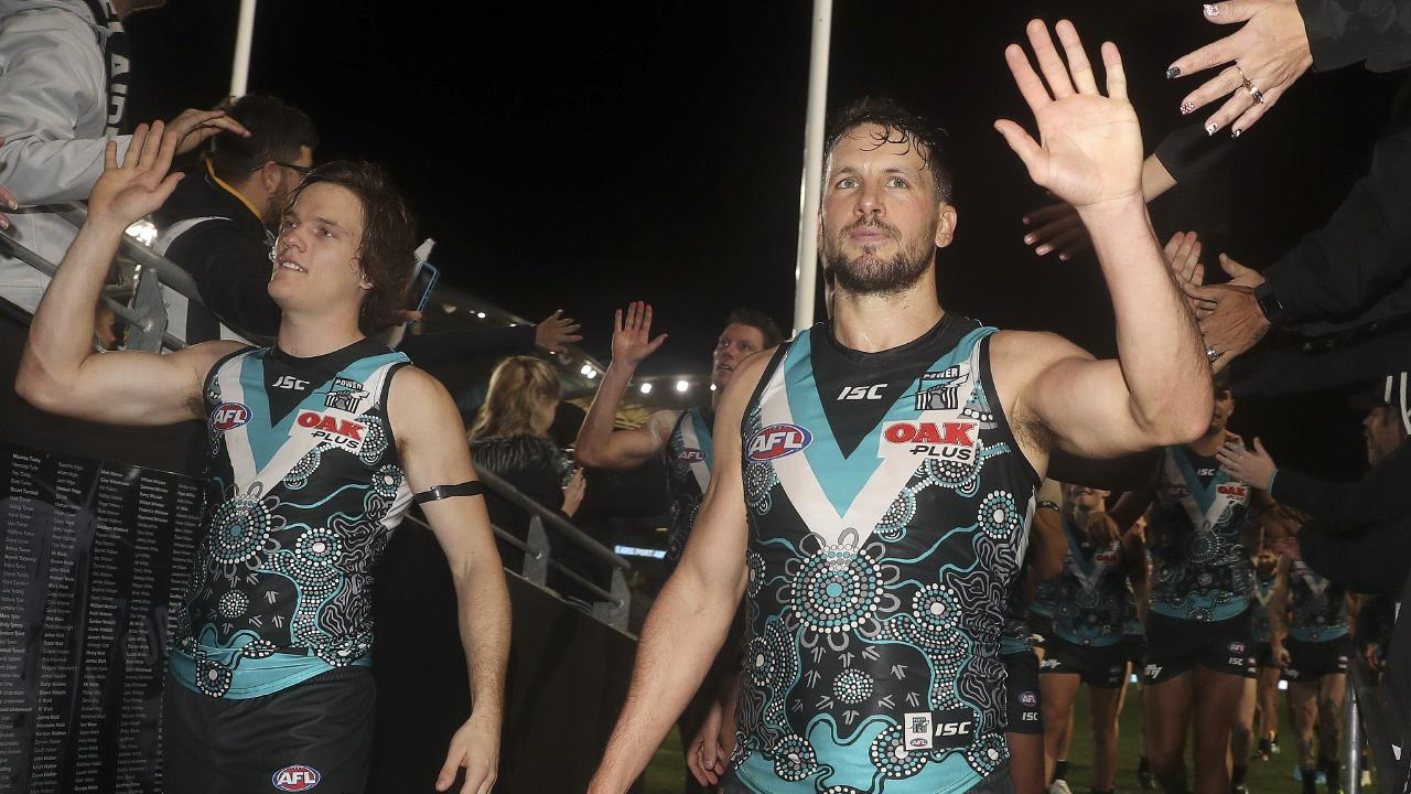 Port Adelaide's Travis Boak, right, has stepped down as captain. Picture: Sarah Reed