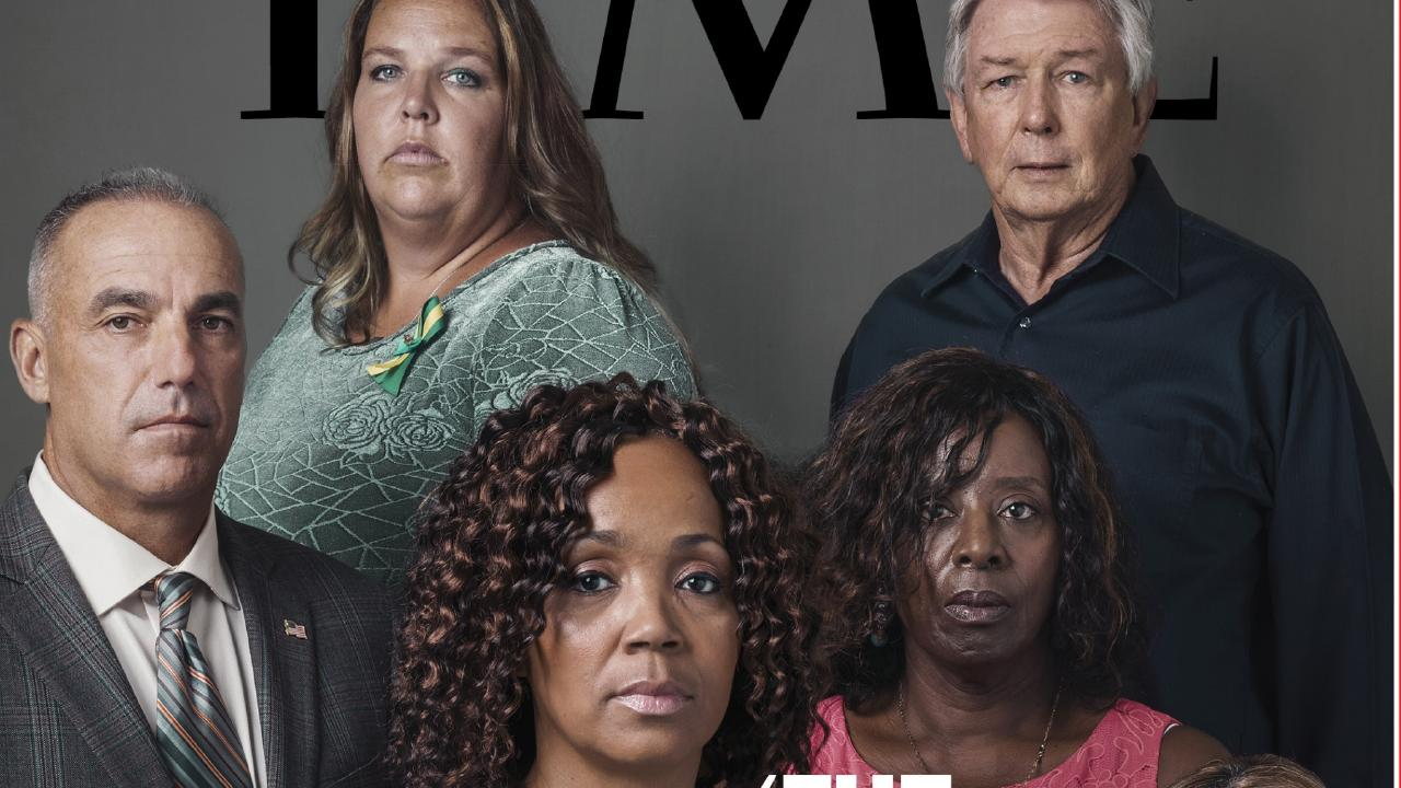 Parents of shooting victims on the new issue of TIME Magazine. Picture: Adam Ferguson for TIME