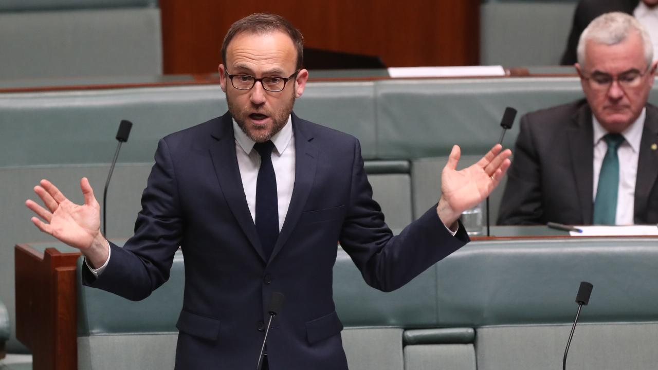 Adam Bandt speaking in the House of Representatives at Parliament House in Canberra. Picture: Kym Smith