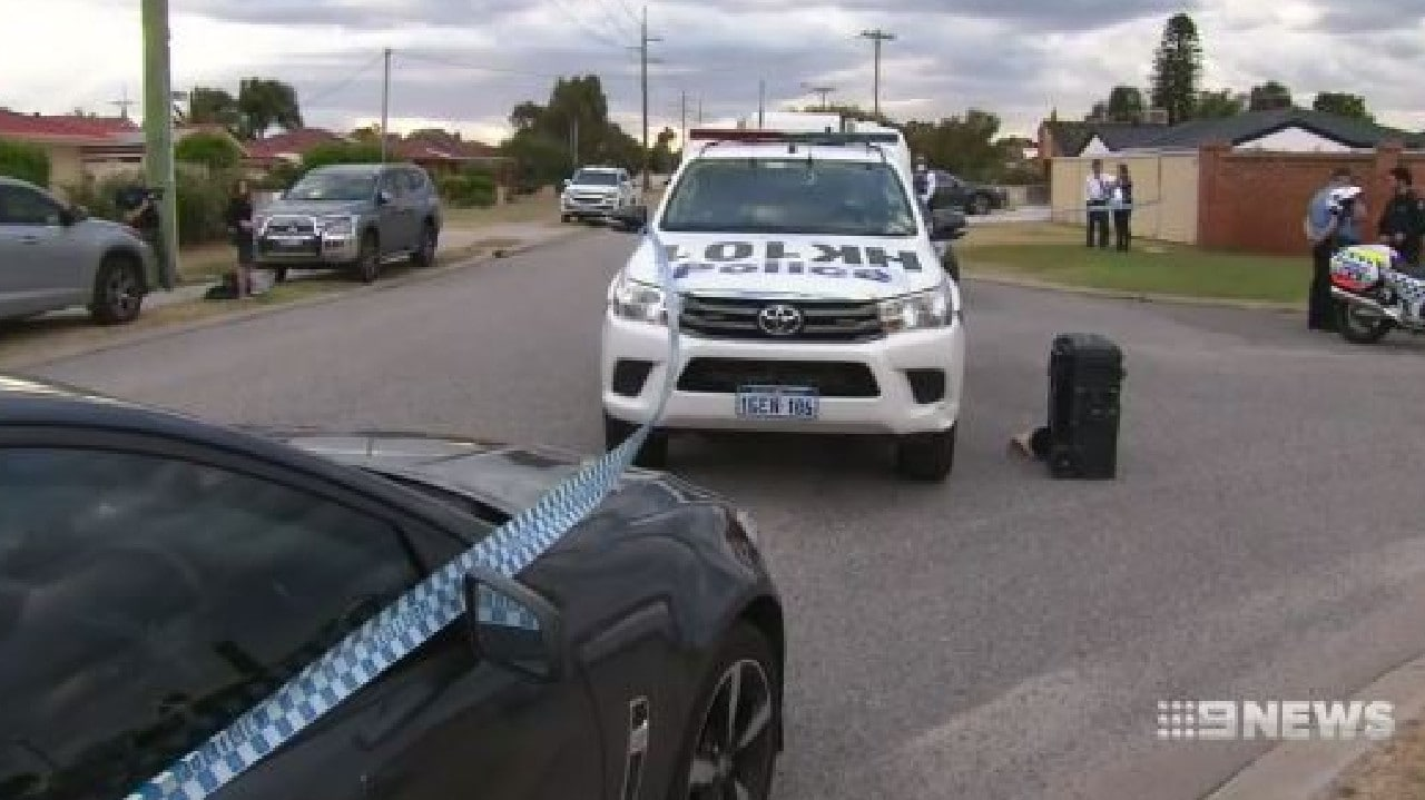 Police arrive at the scene on Yenisey Crescent in Beechboro. Picture: Nine News