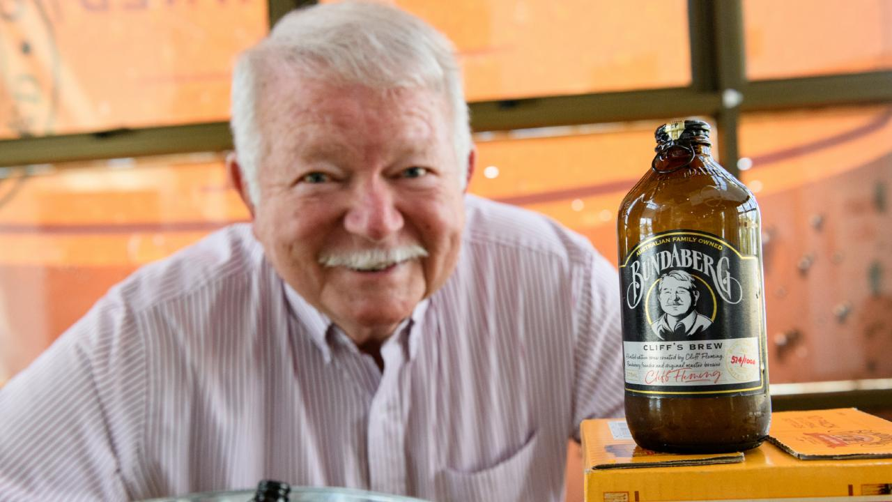 Cliff Fleming with the 50th anniversary special edition of Bundaberg Ginger Beer
