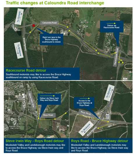 Traffic changes at the Bruce Highway upgrade at Caloundra.