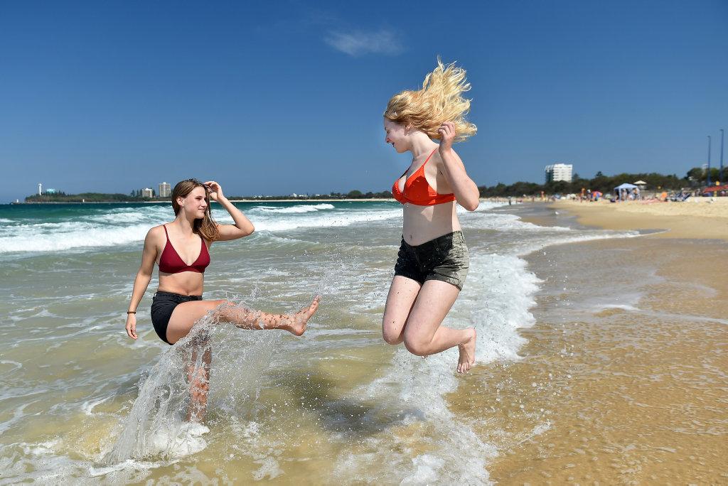 Out Having Fun At Mooloolaba Beach Are Jayda Glazebrook And
