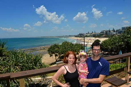 Brisbane couple Mike Smith and Ruth Sparks enjoy bringing their daughter Rylie Sparks to Kings Beach.