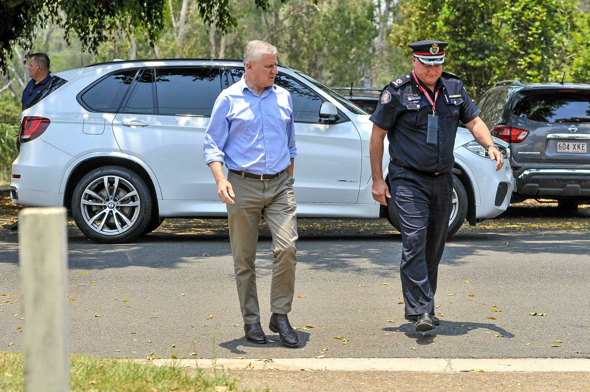 Acting Prime Minister Michael McCormack alongside assistant commissioner David Hermann visited Mount Larcom, Miriam Vale and Agnes Water to speak to bushfire victims on 1 December, 2018.