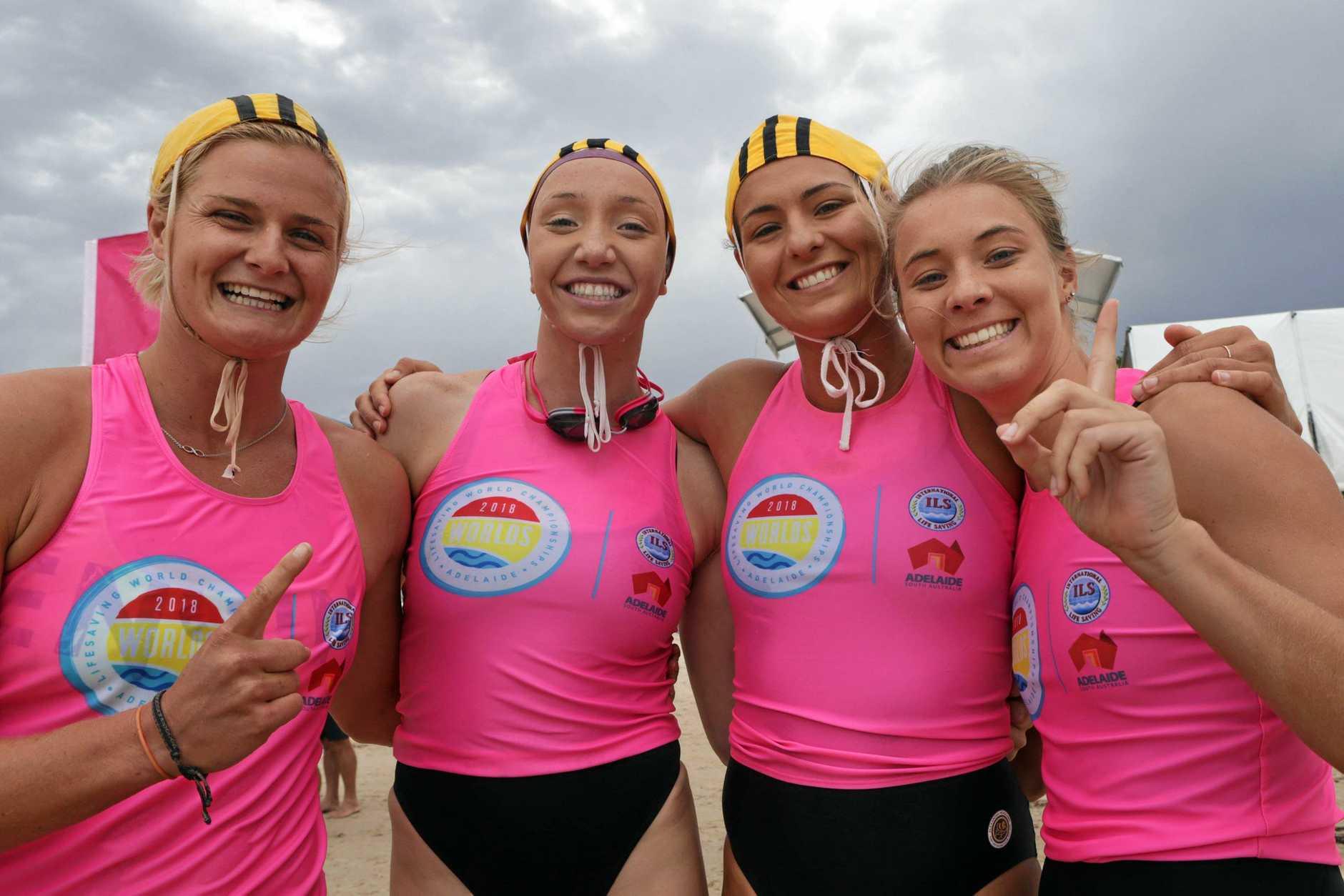 Alexandra Headland's Lani Pallister (swim), Alyssa Bull (ski), Olivia Heaton (board) and Tiarrn Raymond (run) won the Oceanwoman Relay at the Lifesaving World Championships on Saturday at Glenelg Beach in Adelaide.