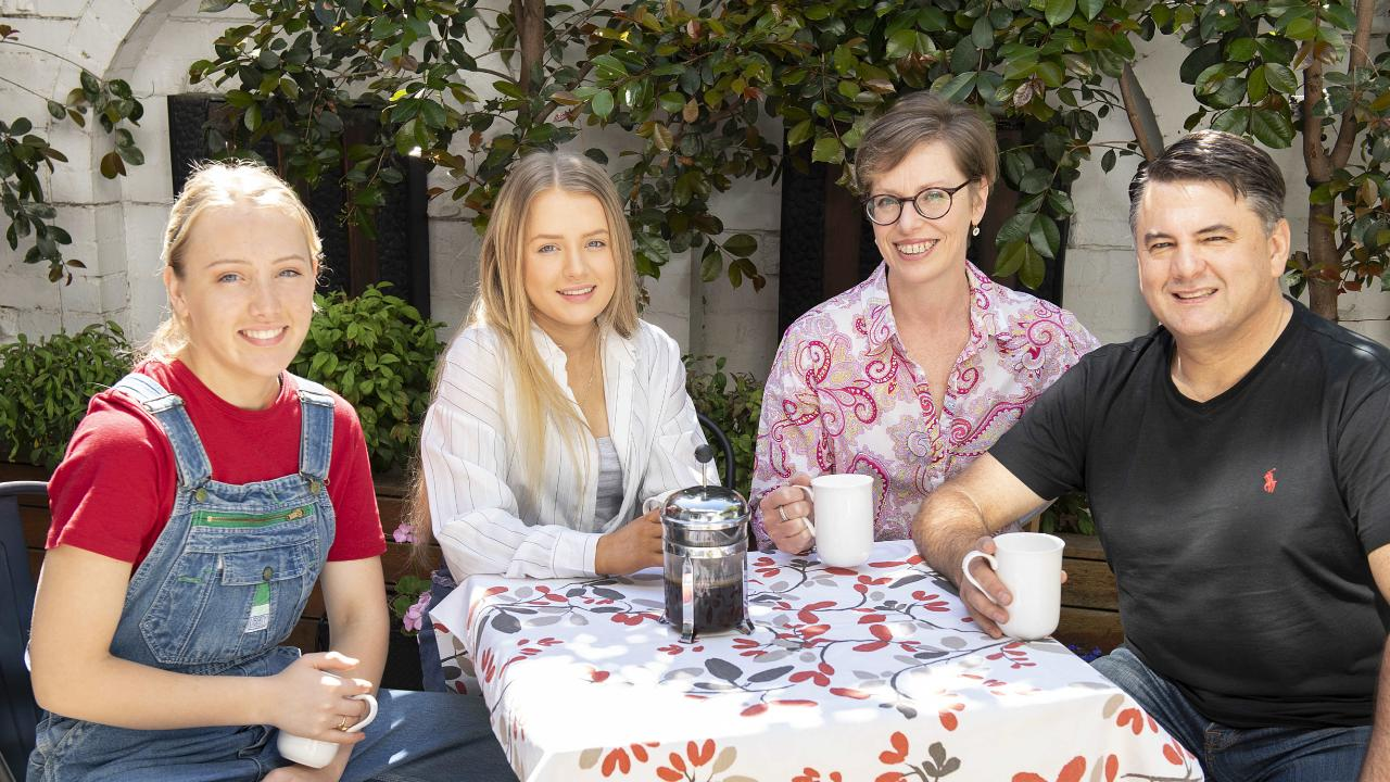 DOWNSIZING isn't just for Baby Boomers. The Vander Sluys family traded in their large Doncaster East house for a much smaller East Melbourne pad. L-R Ella (17), Lily (16), Natalie and Simon. Picture: Ellen Smith