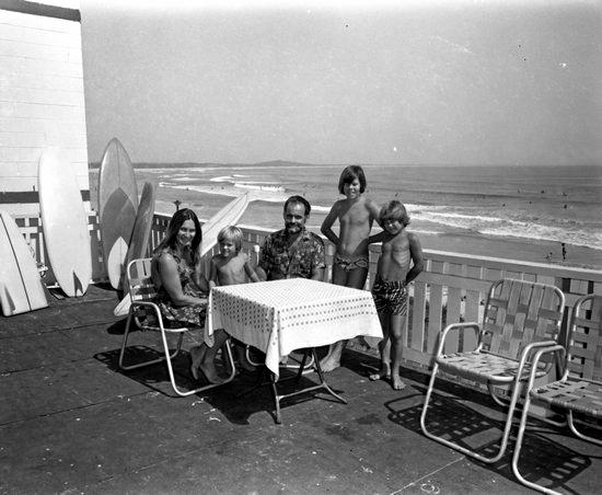 Family on deck of Noosa Beach Guest House, Noosa Heads, 1970.