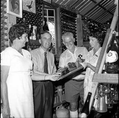 Joh and Flo Bjelke-Petersen inside House of Bottles, Tewantin, 1972.