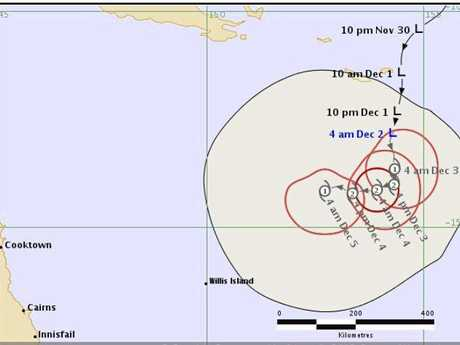 Tropical cyclone forecast tracking map for a tropical low system of the Queensland coast issued at 4:45 am,  Sunday 2, December 2.