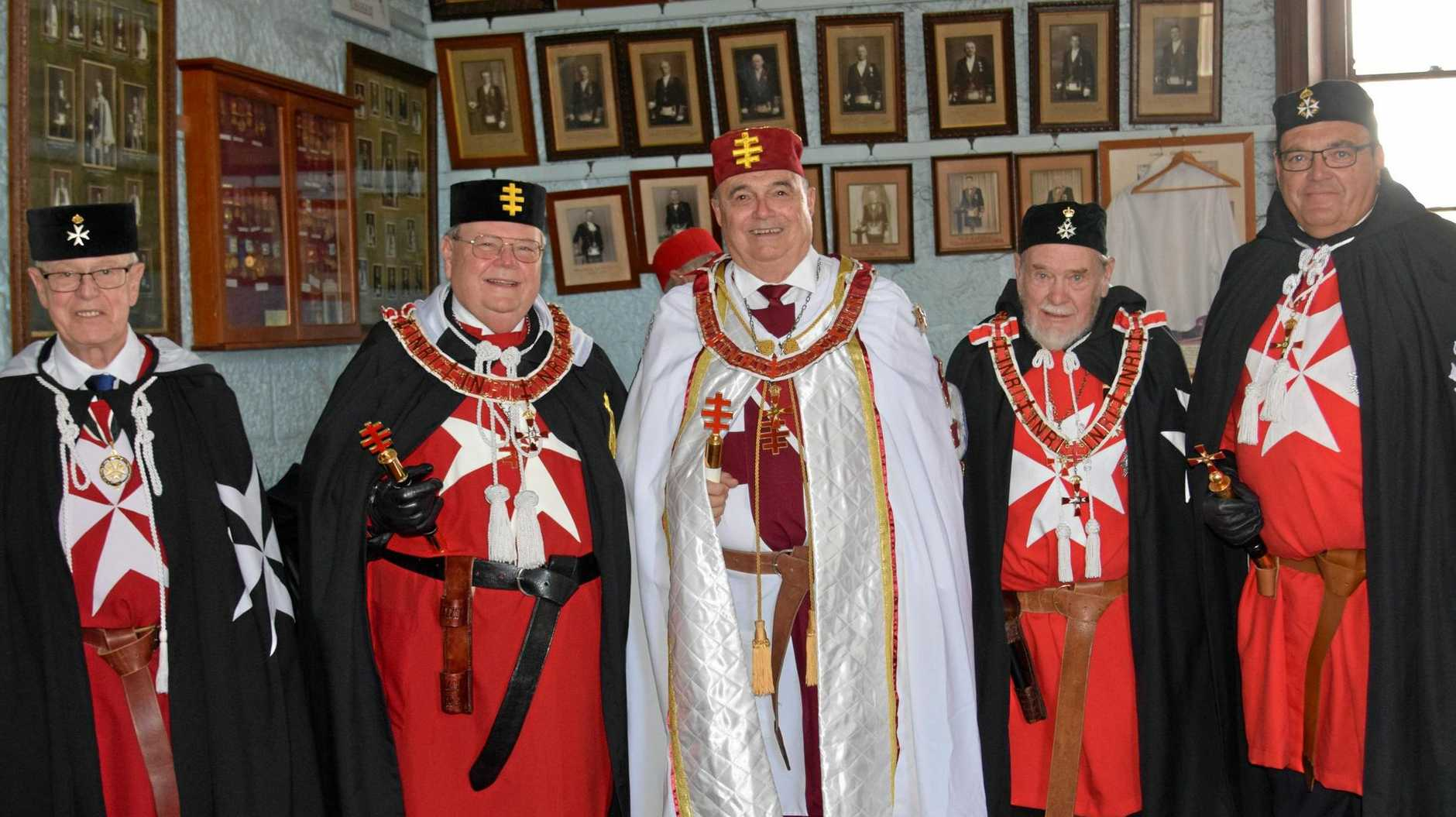 GREAT MEETING: Knights Templar Queensland grand master Bob Bennett (centre) with (from left) great marshall Michael Henwood, Great Priority of New South Wales and Australian Capital Territory grand master Richard Pickering, former secretary Don Beal and great sub prior of Malta John Clark at the Malta meeting in Warwick yesterday.