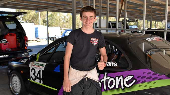 RACER: Kyle Evans, 14, at the Queensland Super Sprints Christmas break up at Morgan Park Raceway at the weekend.