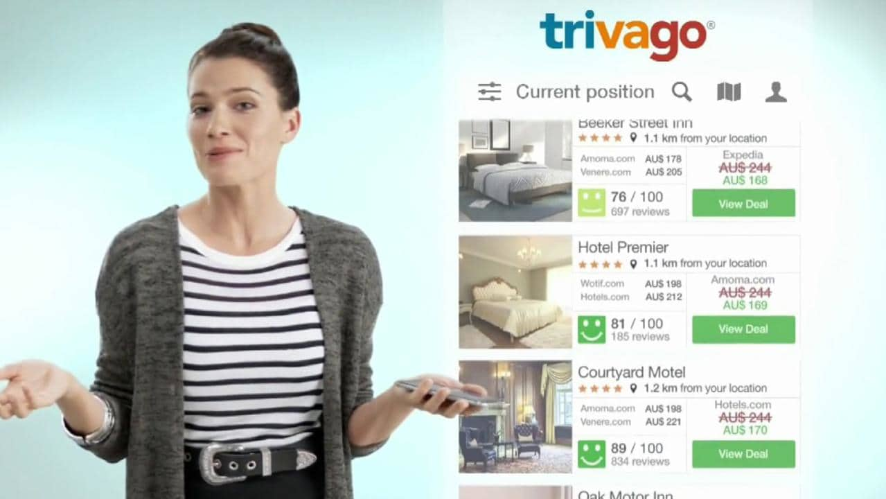 Trivago Girl Gabrielle Miller pictured in Trivago Deal Advertisements. She is in no way responsible for the breaches of law. Picture: Supplied
