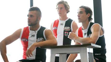 Mature-age recruit Robbie Young with Jack Bytel and Max King. Picture: Getty Images