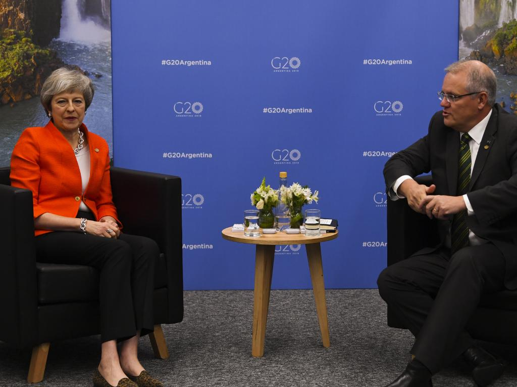ScoMo backed British Prime Minister Theresa May's Brexit push. Picture: AAP