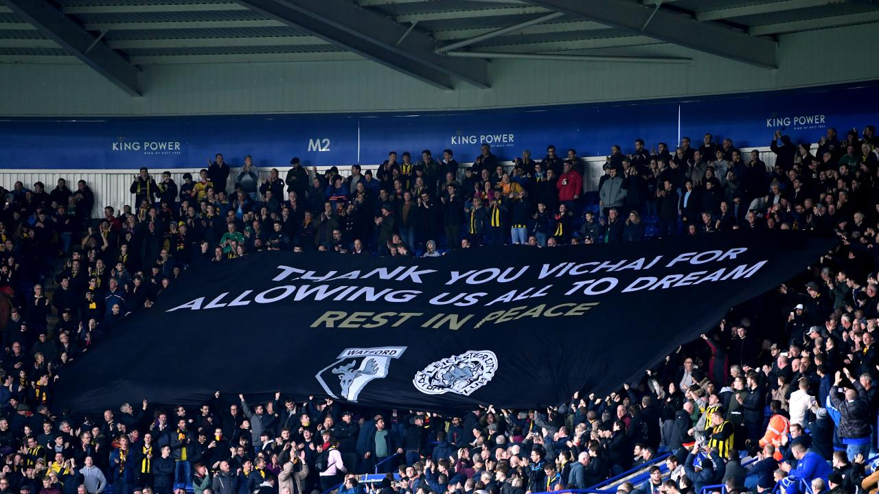 Watford fans display a banner in honour of Leicester City chairman Vichai Srivaddhanaprabha